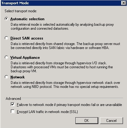 3 Indications to use Network Mode over hot-add for vSphere