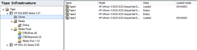 Figure 1: Tape seen in the Backup Infrastructure node (UI subject to change)