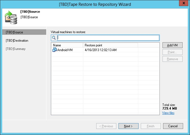 Figure 3: Tape Restore to Repository Wizard (UI subject to change)