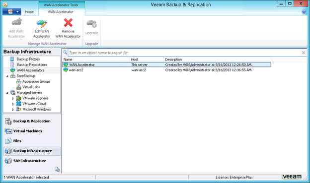 WAN accelerators in the Veeam Backup Infrastructure view
