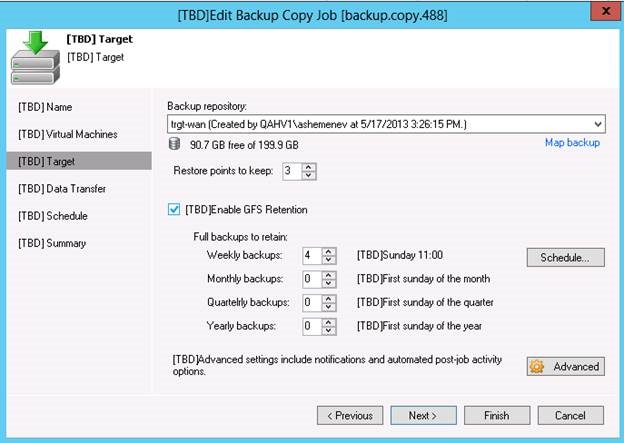 Retention policy settings for a Backup Copy job