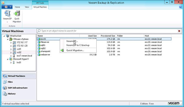 Figure 1: Easy VM backups with VeeamZIP
