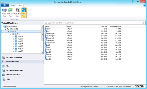 Figure 5: Backing up vCloud Director VMs