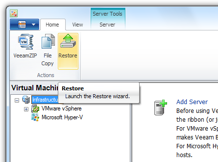 Pic 1. Launch the Restore wizard in Veeam Backup & Replication