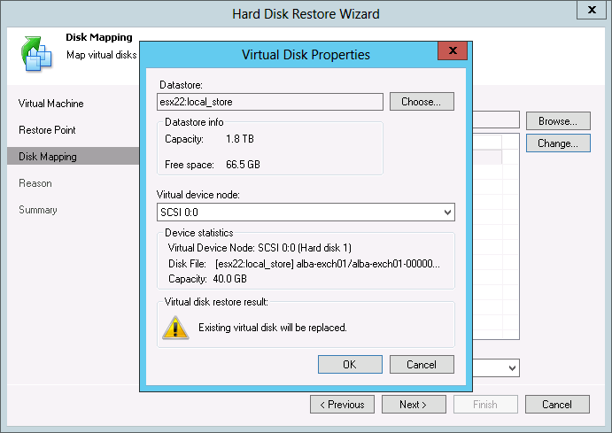 Pic 4. Finally, select virtual hard disks to restore and target datastores in Veeam Backup & Replication