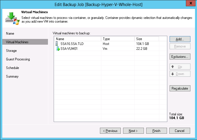 How does a Hyper-V backup work with Veeam?