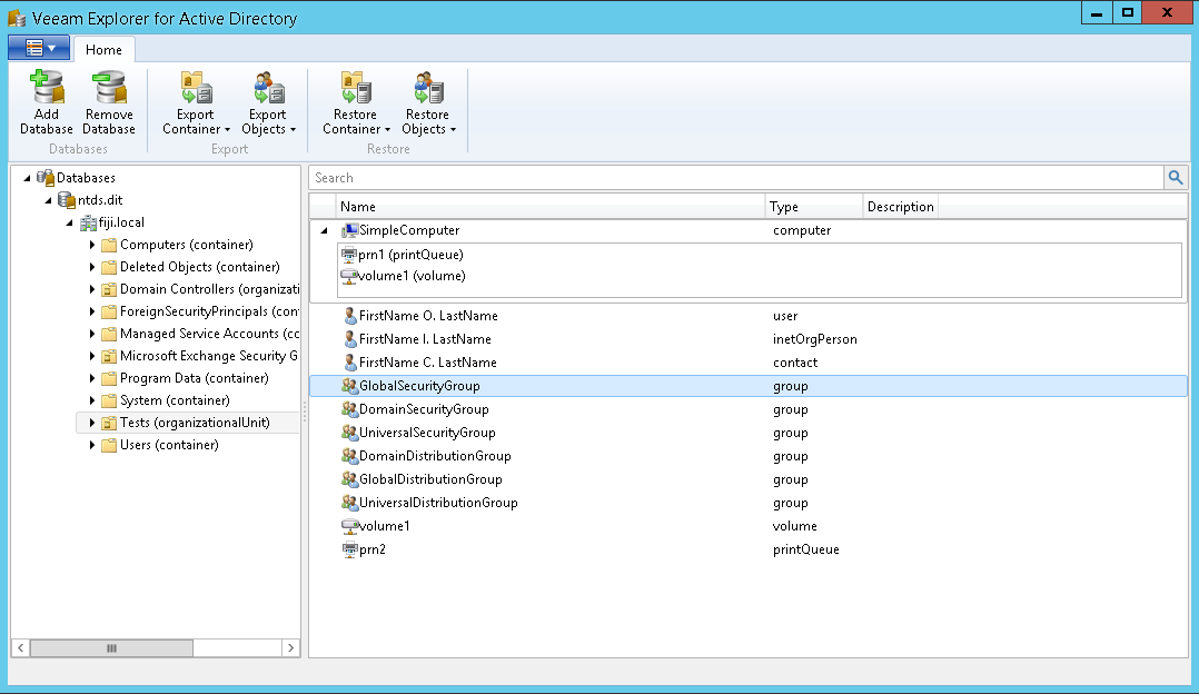Veeam Explorer for Active Directory