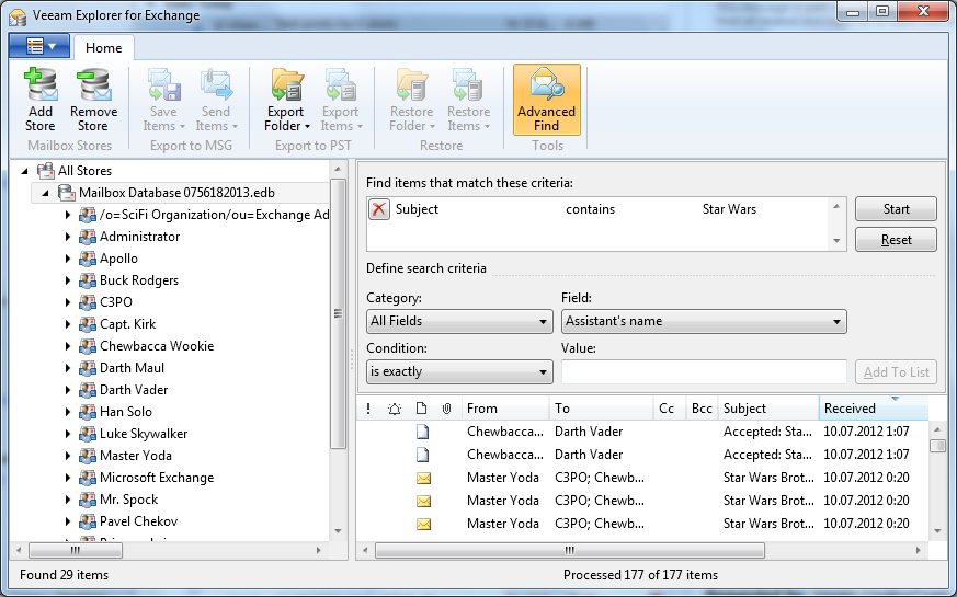 Advanced search in Microsoft Exchange database.