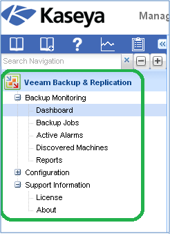 Veeam Backup & Replication Add-on for Kaseya: New tab in the Kaseya navigation menu