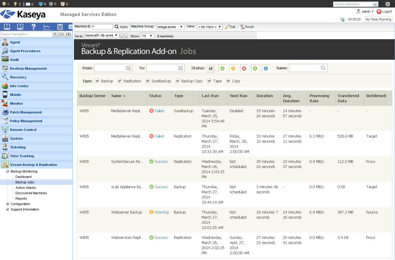 Veeam Backup & Replication Add-on for Kaseya: Backup Jobs view