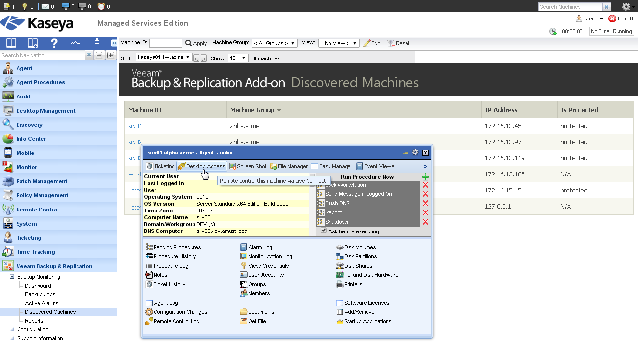 Veeam Backup & Replication Add-on for Kaseya:  Discovered Machines view