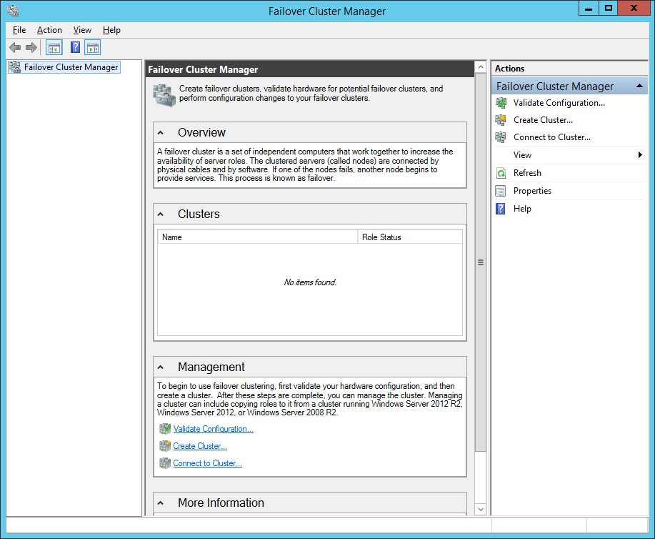 Failover Cluster Manager in WS 2012R2