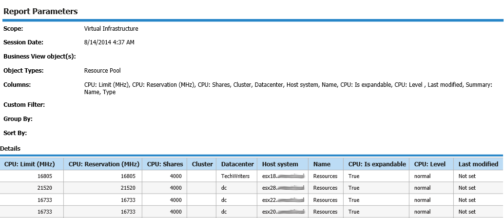 Look at Custom Infrastructure report to identify sprawled VMs because of orphaned and old snapshots