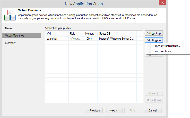 Application group defines virtual machines running production applications which other virtual machines are dependent on.