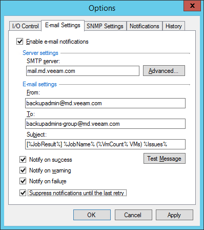 Endpoint Backup notification