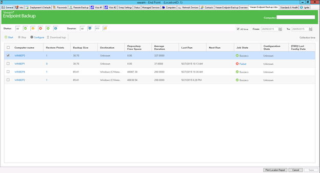 Veeam Endpoint Backup for Labtech - Control panel