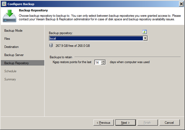 Configure Endpoint Backup Job