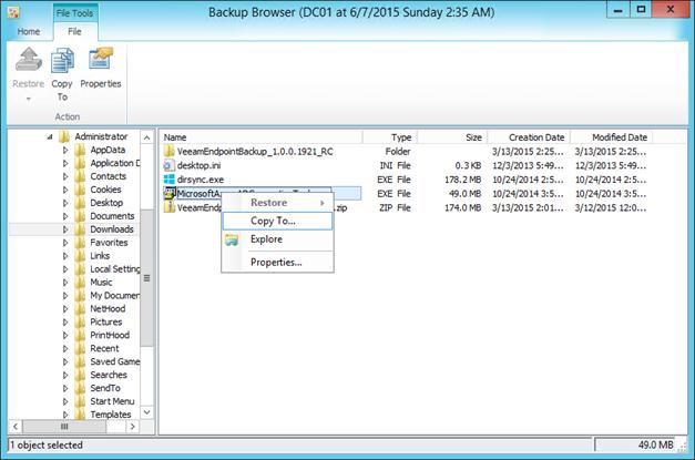 Veeam Endpoint Backup and Veeam VBR File-level restore