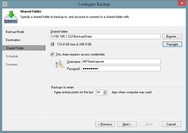 Shared volume backup target of Veeam Endpoint Backup FREE