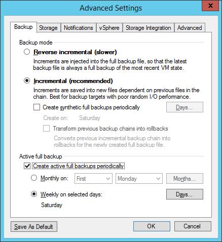 Forward incremental mit Active Full Backup