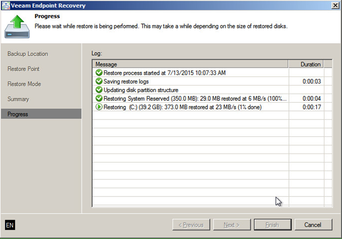 Bare metal recovery progress in Veeam Endpoint Backup FREE