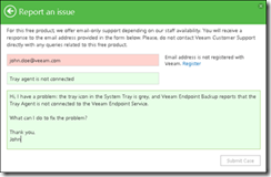 Technical support for Veeam Endpoint Backup FREE