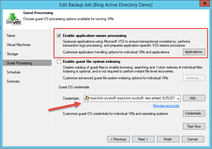 Guest processing settings within backup job