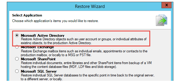 Application Item Recovery Wizard