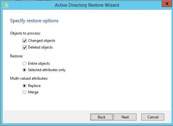 Veeam Explorer for Microsoft Active Directory Restore Wizard