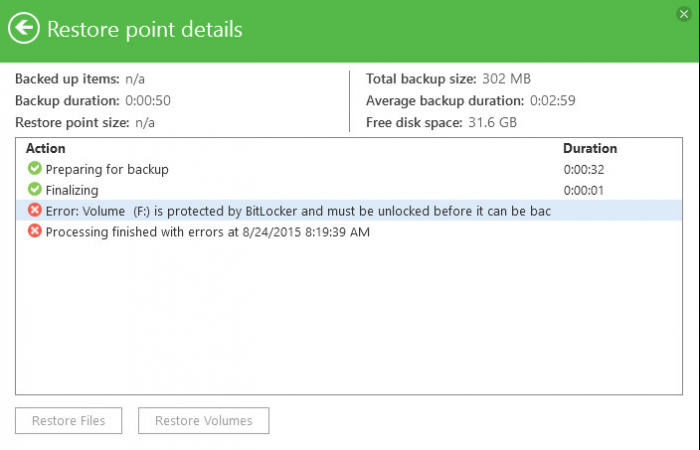 Veeam Endpoint Backup: Volume X is protected by BitLocker and must be unlocked