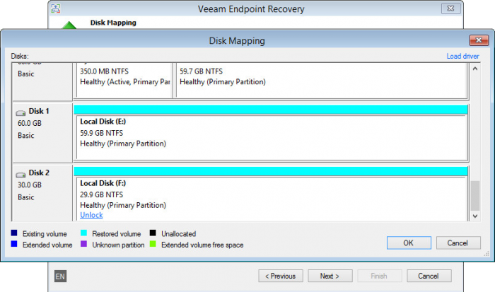 Veeam Endpoint recovery - Disk mapping