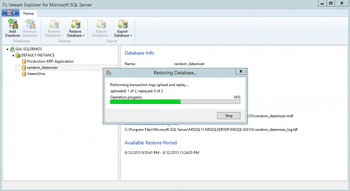Combining the backup data and the SQL Server database log information to restore the database