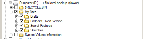 Veeam Endpoint Backup automatically adds the temporary files folder in exclusion list