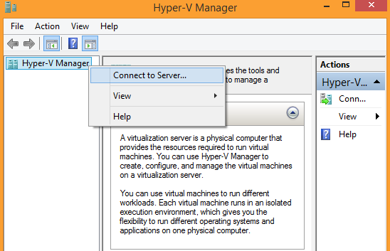 Windows 8.1 Hyper-V Manager