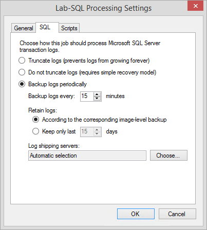 SQL Server processing options