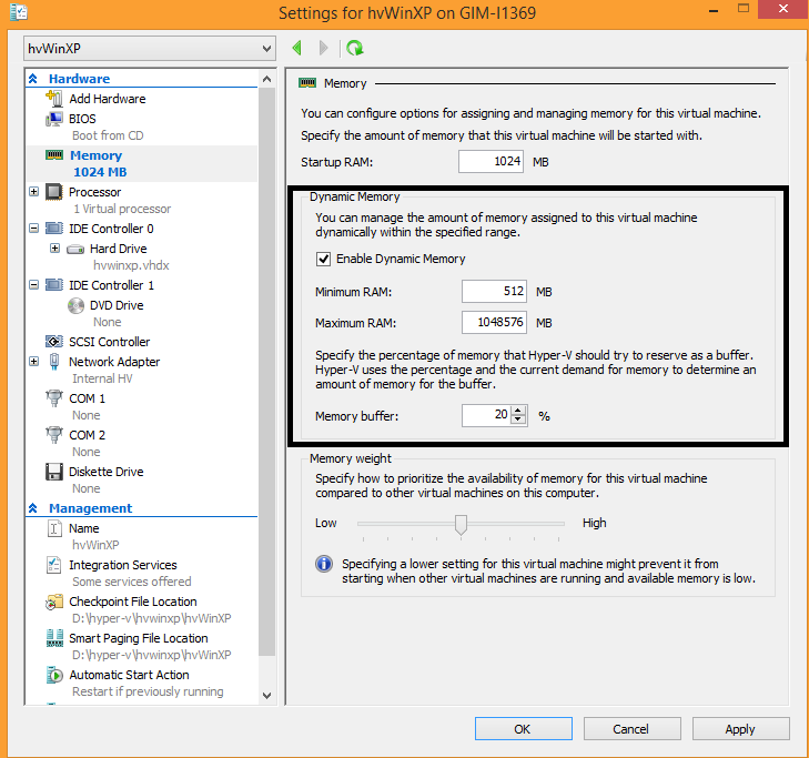 Hyper-V dynamic memory settings