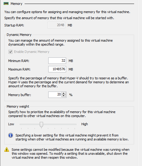 Hyper-V dynamic memory of powered VM