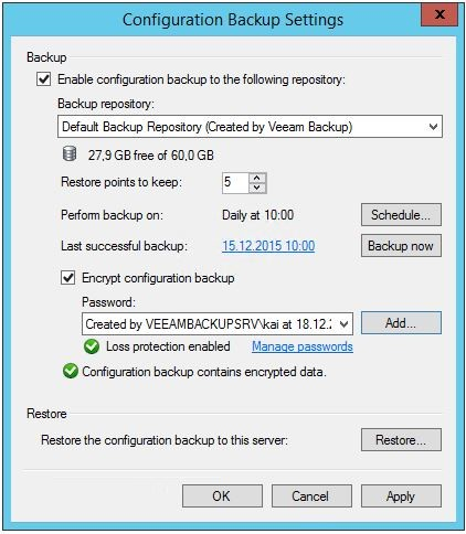 Configuration Backup Settings