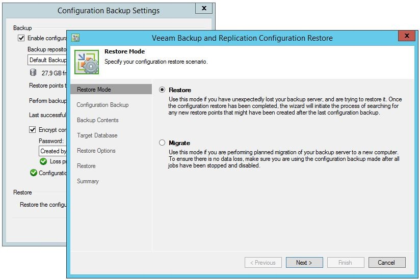 Veeam Backup and Replication Configuration Restore