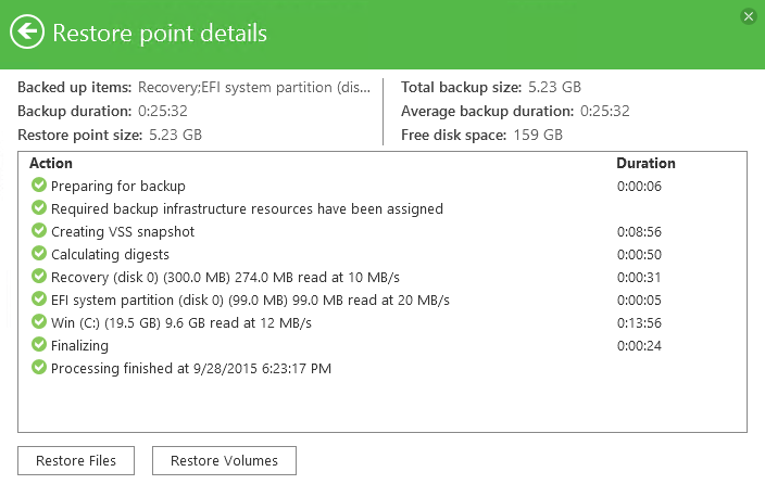 5 - Veeam Endpoint Backup FREE Backup job statistics