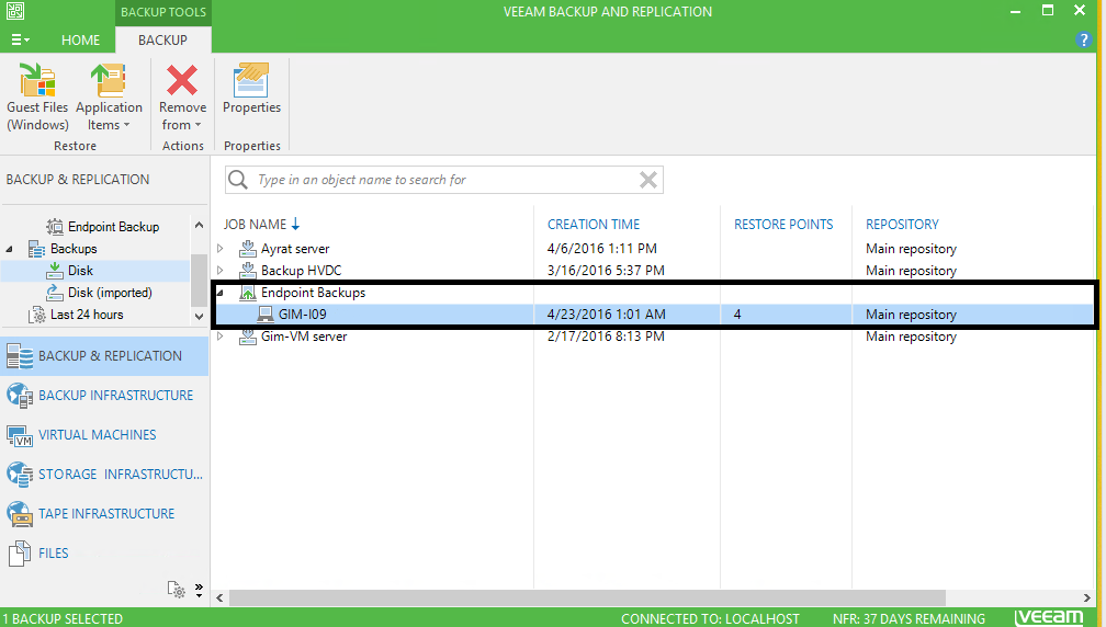 Veeam Backup & Replication: Backups-disk