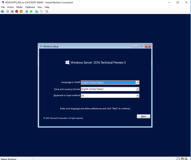 Windows Server 2016 installation