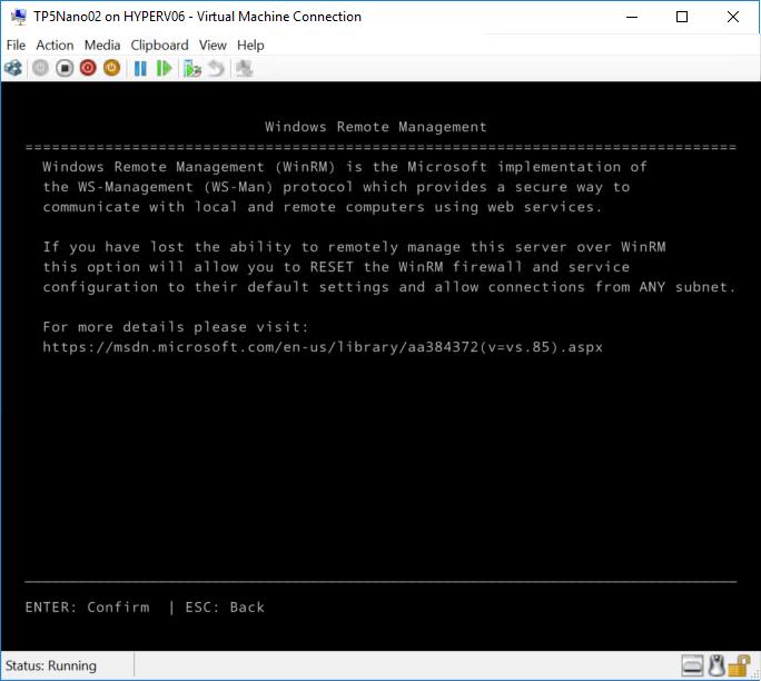 Nano Server Recovery Console