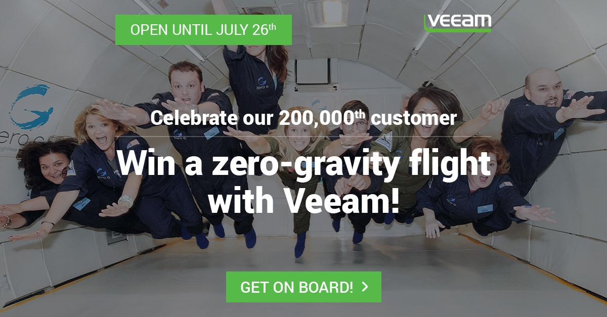 ZERO-G Experience® with Veeam to the 200,000th customer