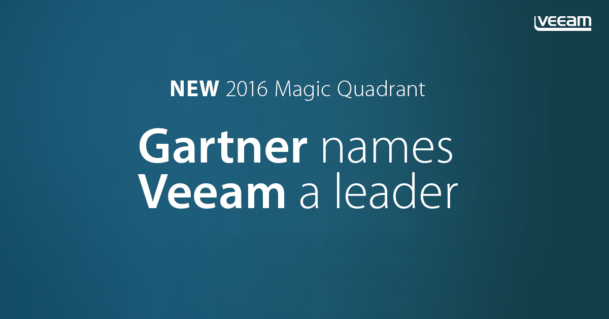 Gartner names Veeam a Leader in the new 2016 Magic Quadrant