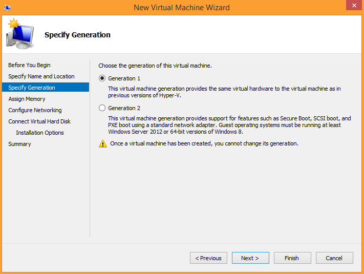 Hyper-V Manager. VM generation selection