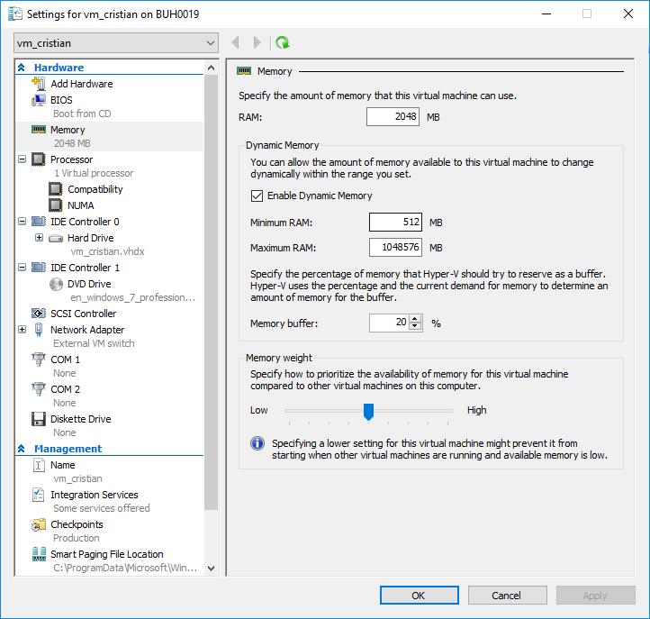 Hyper-V VM settings