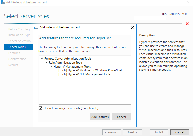 Enabling the Hyper-V role