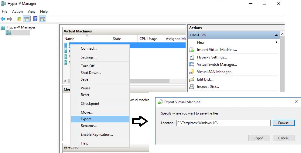Figure 2. Exporting VM