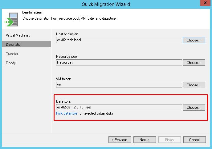 Pick datastore for selected virtual disks